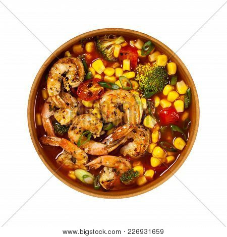 Shrimp Soup With Tomato, Broccoli And Corn Isolated On White Background. Selective Focus.