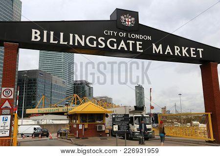 London, Uk - July 8, 2016: People Visit Billingsgate Fish Market In London, Uk. The Market Is Locate