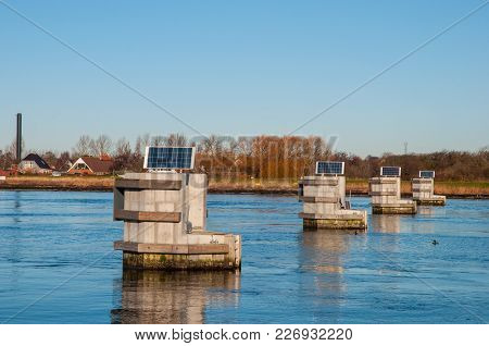 Massive Dolphin Structure That Protect The Masnedsund Bridge In City Of Vordingborg In Denmark