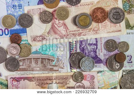 Colorful Background Of Many Money From Many Country