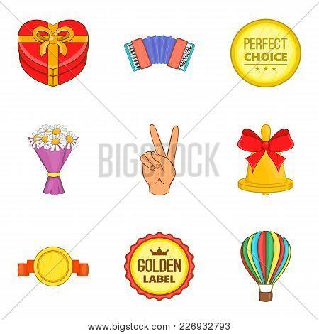 Promo Icons Set. Cartoon Set Of 9 Promo Vector Icons For Web Isolated On White Background