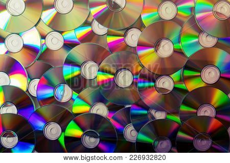 Compact Disc Collection Background. Top View. Data Storage