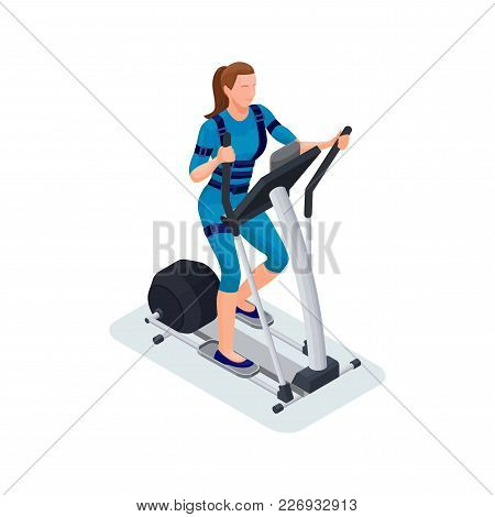 Ems Fitness Cardio Workout Isometric 3d Illustration With Girl Running Elliptical Machine, Sport Inf