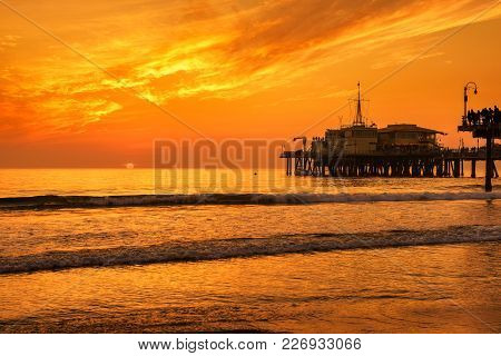 Scenic Sunset From Santa Monica Pier In Los Angeles, California.