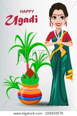 Happy Ugadi Greeting Card With Beautiful Indian Woman And Decorated Kalash. Traditional Indian Holid