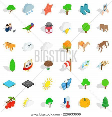 Scenery Icons Set. Isometric Set Of 36 Scenery Vector Icons For Web Isolated On White Background