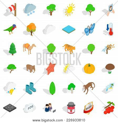 Terrain Icons Set. Isometric Set Of 36 Terrain Vector Icons For Web Isolated On White Background