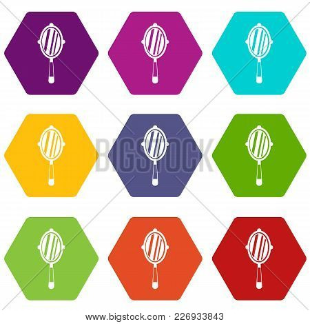 Hand Mirror Icon Set Many Color Hexahedron Isolated On White Vector Illustration