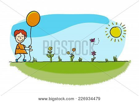 Pretty Stickman Boy Walking With Balloon. Hand-drawn Sketches Doodles In Beautiful Outfits And Costu