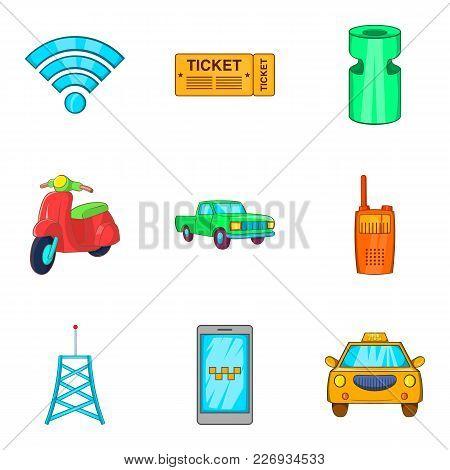 Public Transit Icons Set. Cartoon Set Of 9 Public Transit Vector Icons For Web Isolated On White Bac