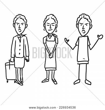 Three Emotional Woman Characters. Hand-drawn Sketched Doodles In Beautiful Outfits And Costumes. Mod