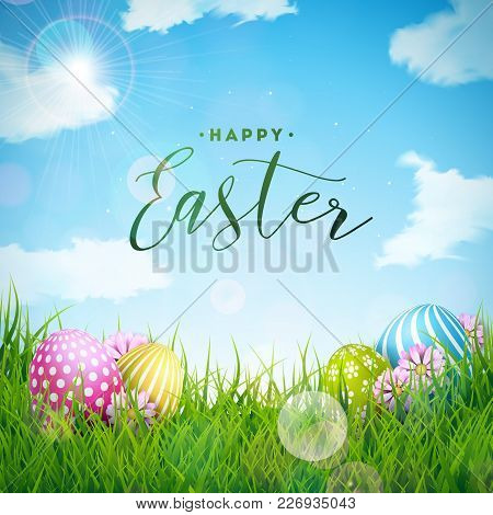 Vector Illustration Of Happy Easter Holiday With Painted Egg And Flower On Green Nature Background.
