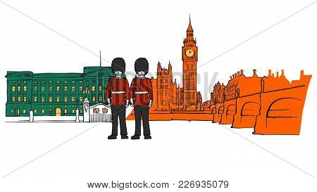 London Royal Palace And Big Ben Sketch. Hand-drawn Sketches In Beautiful Outlines And Colors. Modern