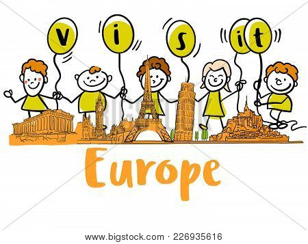 Visit Europe Banner With Famous Landmarks. Hand-drawn Sketches In Beautiful Outlines And Colors. Mod