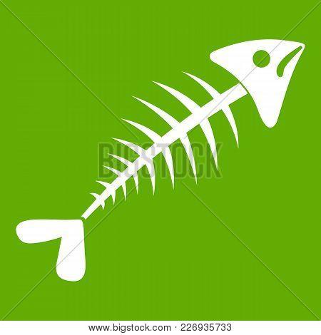 Fish Bone Icon White Isolated On Green Background. Vector Illustration