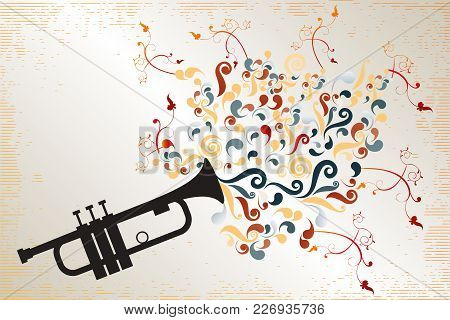 Poster With Black Trumpet Sending Out Colorful Swirls And Floral Elements With Retro Elements