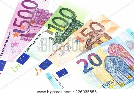 Euro Cash Banknotes. Euro Money Background. Set Of Eurpoean Currency Isolated On White.