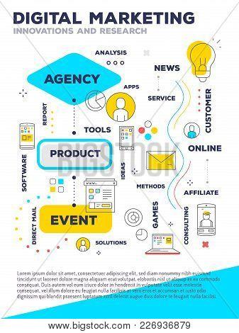 Digital Marketing Template Composition Concept. Vector Creative Bright Illustration Of Graph Busines