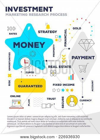 Vector Creative Bright Illustration Of Graph Business Project With Header, Text Blue And Yellow Colo