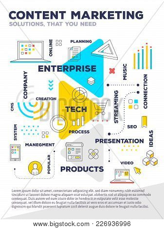 Content Marketing Concept. Vector Creative Bright Illustration Of Graph Business Project With Header