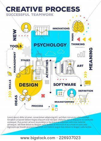 Creative Process Concept A4 Page For Web, Poster, Presentation. Vector Creative Bright Illustration