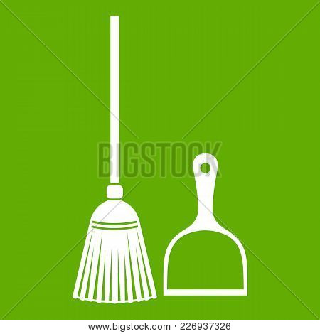Broom And Dustpan Icon White Isolated On Green Background. Vector Illustration