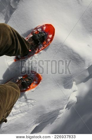 Man With Snowshoes Walks In Winter On The White Snow