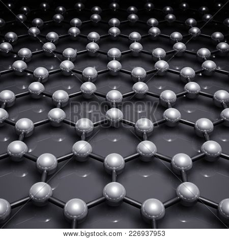 Graphene Layer, Schematic Molecular Model Of Hexagonal Lattice. Square 3d Illustration