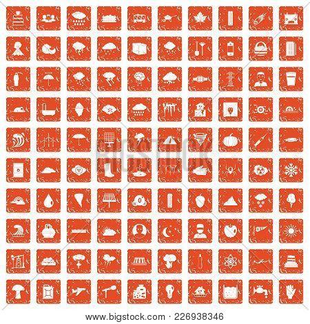 100 Thunderstorm Icons Set In Grunge Style Orange Color Isolated On White Background Vector Illustra