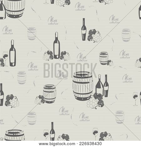 Seamless Pattern With Wine, Wine Barrels, Wine Glasses, Grape And Lettering On Light Background.