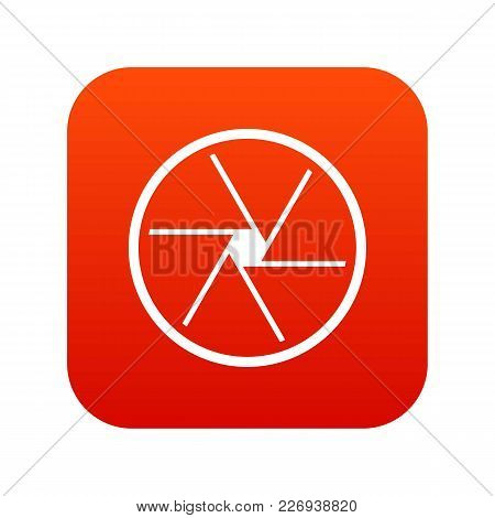 Round Objective Icon Digital Red For Any Design Isolated On White Vector Illustration