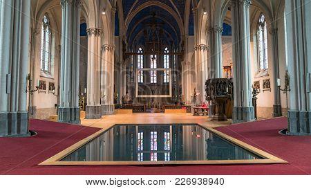 Bruges, Belgium - February 2018: Interior Pool Of Church Of St Magdalene In The City Of Bruges, Belg
