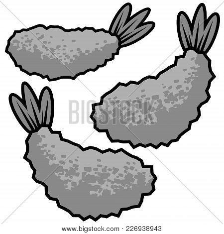 Fried Shrimp Illustration - A Vector Cartoon Illustration Of A Few Fried Shrimp.