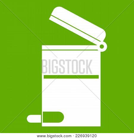 Steel Trashcan Icon White Isolated On Green Background. Vector Illustration