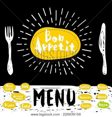 Bon Appetit Poster With Fork And Knife Lettering, Calligraphy Logo, Sketch Style, Light Rays Heart,