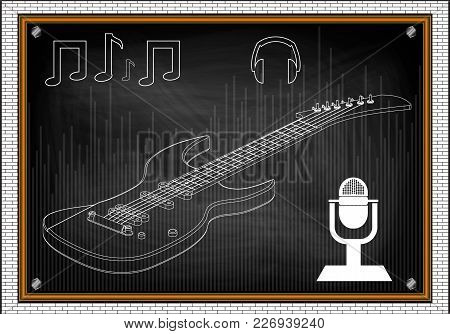 Guitar On A Black Background. Drawing. 3d Model