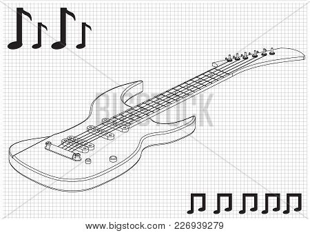 Guitar On A White Background. Drawing. 3d Model