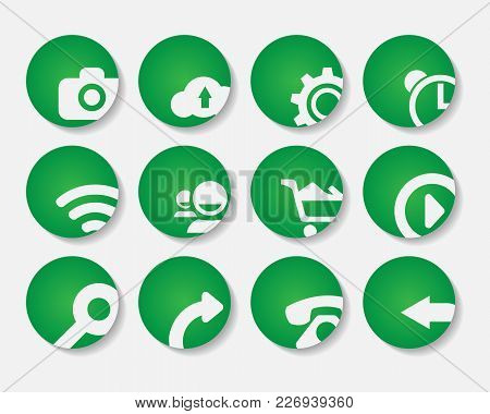 Set Of Stylish Green Icons. Application Icons Set.