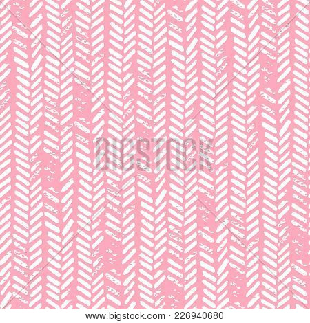 Cute Seamless Pattern. Pink And White Colors. Grunge Texture. Knitted Ornament, Braids, Herringbone.