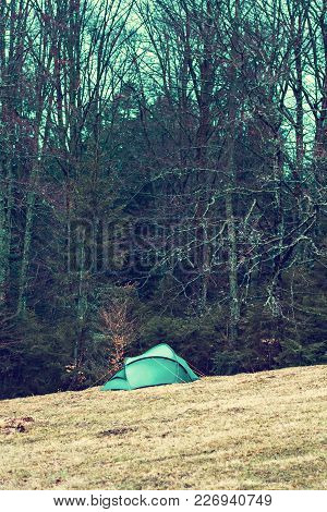 Tent On A Field In A Forest In The Mountains. Camping, Outdoor Recreation.