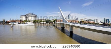 Buenos Aires, Argentina - January 22, 2018: View At Puente De La Mujer Bridge In Buenos Aires, Argen