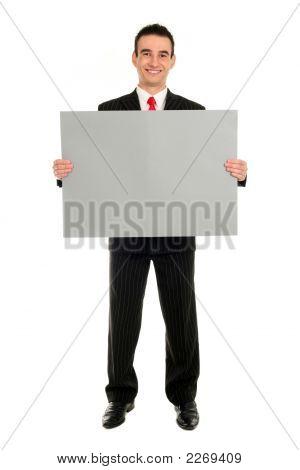 Man Holding Blank Card