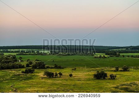 View Of Green Forest-steppe Plain. Green Landscape From Height. Evening Time.