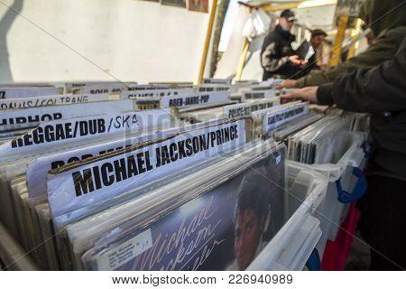 Berlin, Germany - October 23, 2016: Man Browsing Vinyl Album In A Record Store In Flohmarkt Im Mauer