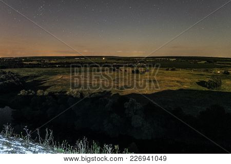View Of Green Forest-steppe Plain At Night. River Koren (root) Valley, Typical Landscape Of Belgorod
