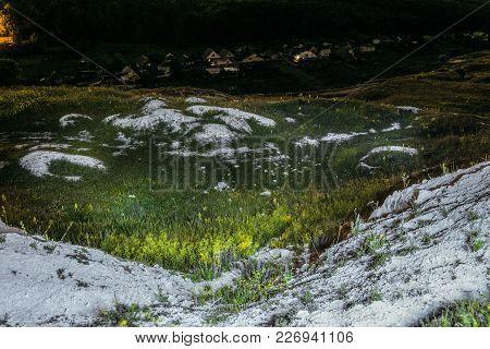 Ancient Cretaceous Overgrown Ravine With Outcrops Of Chalk. Night Landscape. Krapivnoe Village. Terr