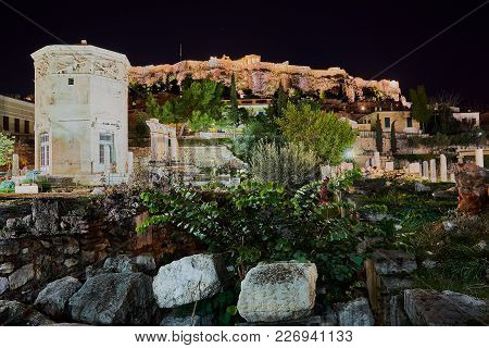 Ancient Town Of Athens With Acropolis At Night