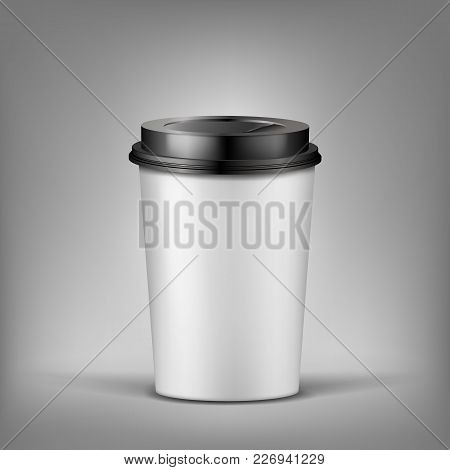 Vector 3d Realistic Cup Of Coffee With Shadow, Plastic Container For Hot Drink. Template For Adverti