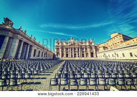 Saint Peter's Square On A Sunny Day