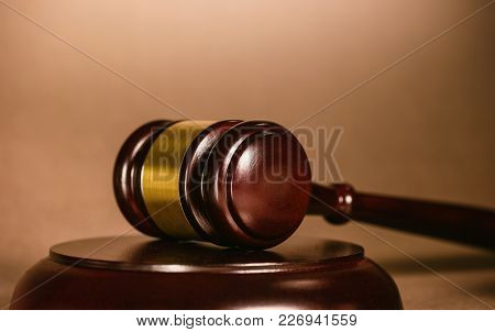 A Judg Gavel On A Judge Table, Including Copy Space. Ideal For Websites And Magazines Layouts